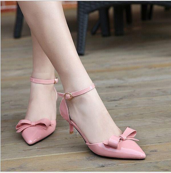 Hot Patent Leather Bowknot Pointed Toe Womens Kitten Heels Shoes Pumps  Sandals