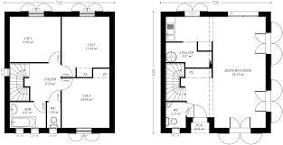 plan maison etage 1 chambre rdc