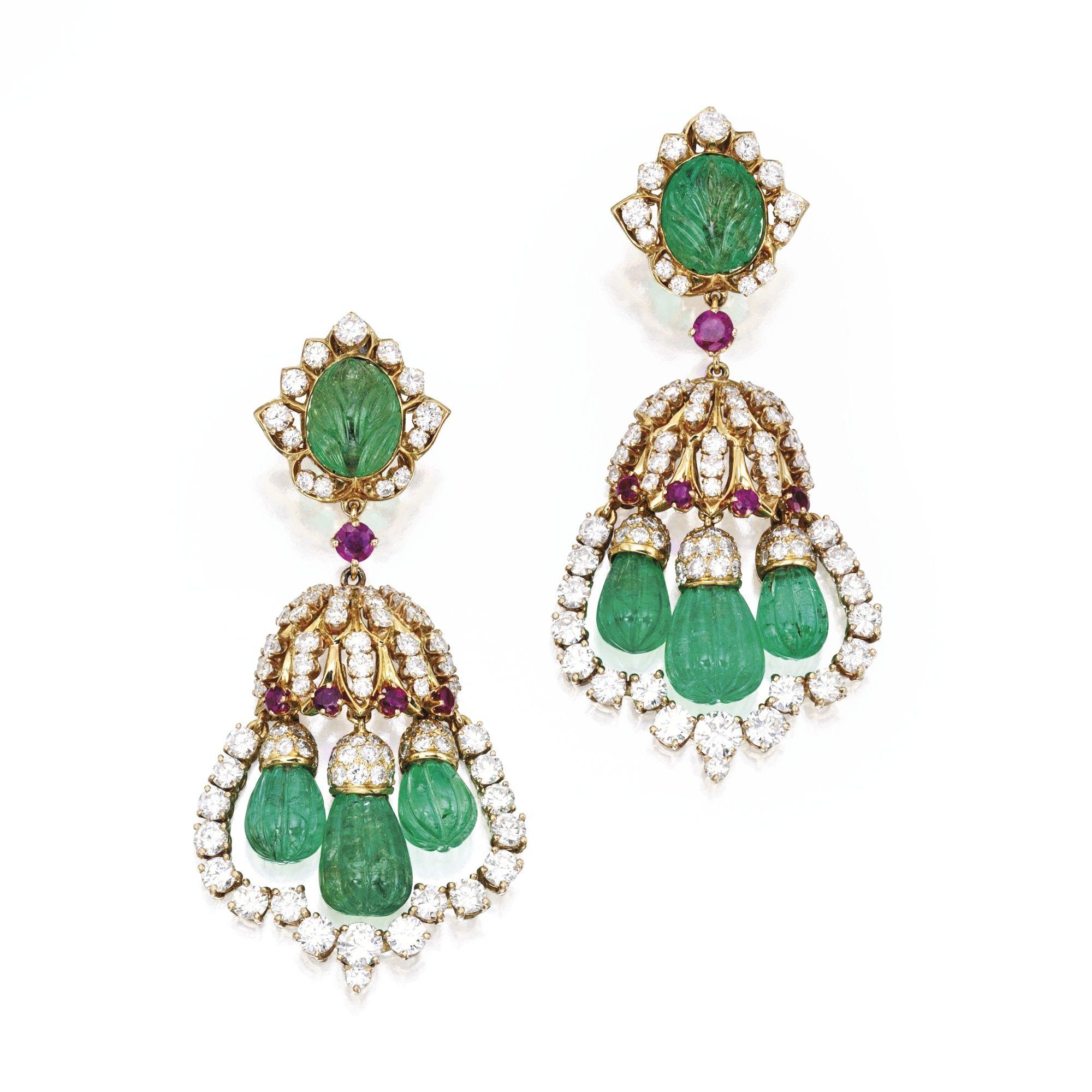 Pair of karat gold emerald diamond and ruby pendantearclips