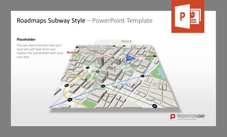 city map with subway stations powerpoint template, Powerpoint templates