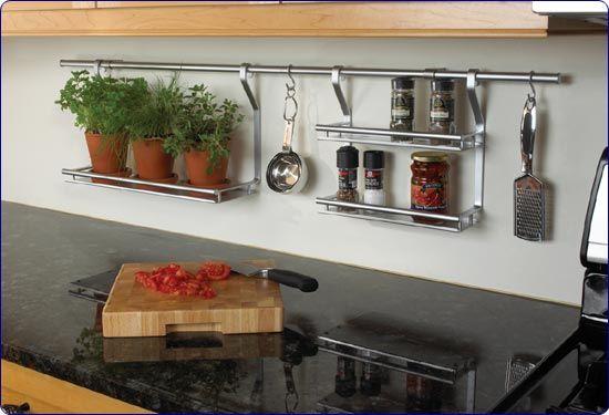 Satin Chrome Kitchen Rail System & Accessories by Knape & Vogt  #kitchensource #pinterest #