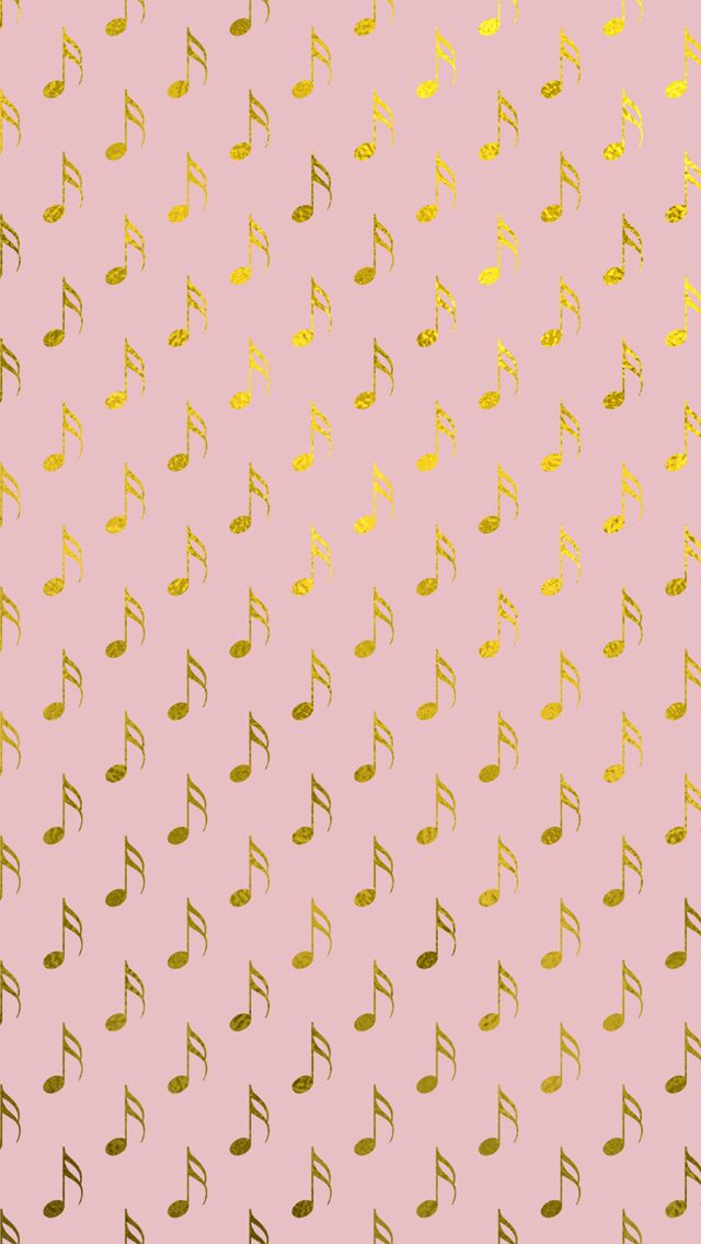 Gold Foil Pink Musical Notes IPhone 5 Wallpaper And 6