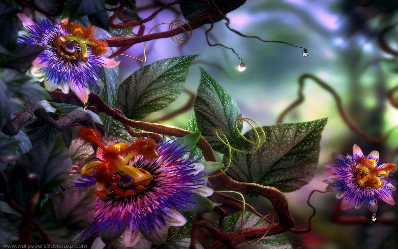 Fantasy Garden Digital Flowers Orchid Wallpaper Flower Art