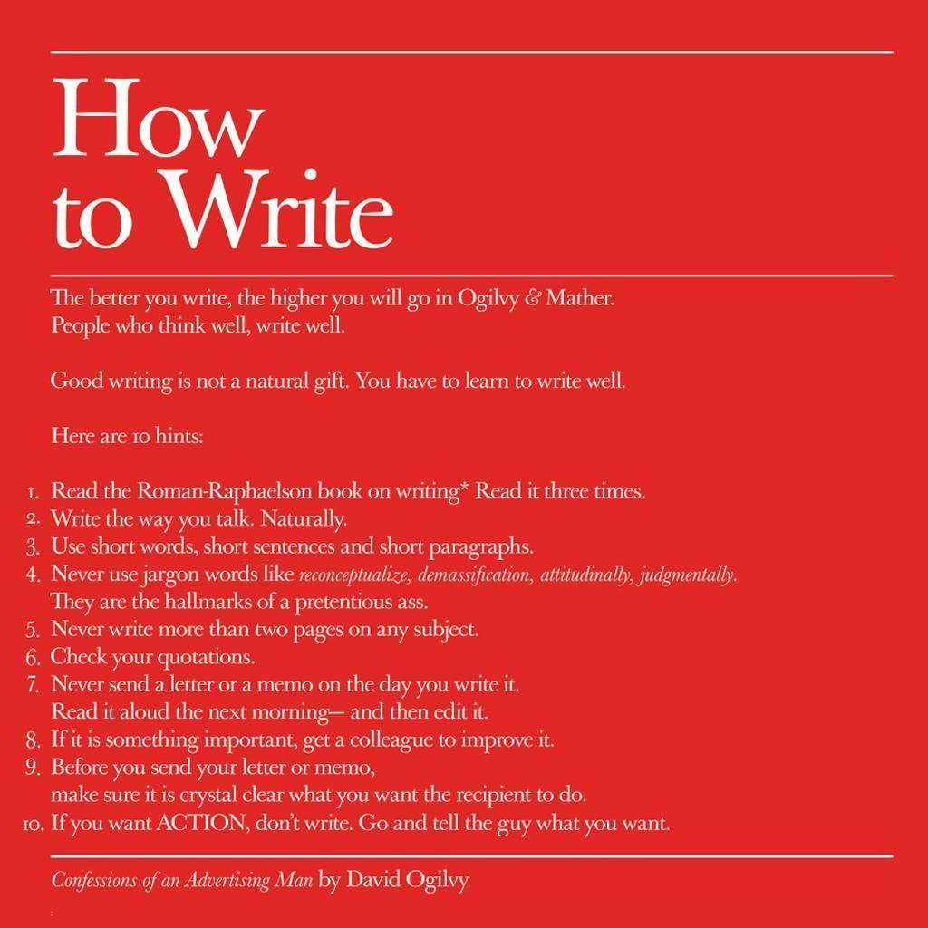 Here are 10 useful tips on how to write from the man