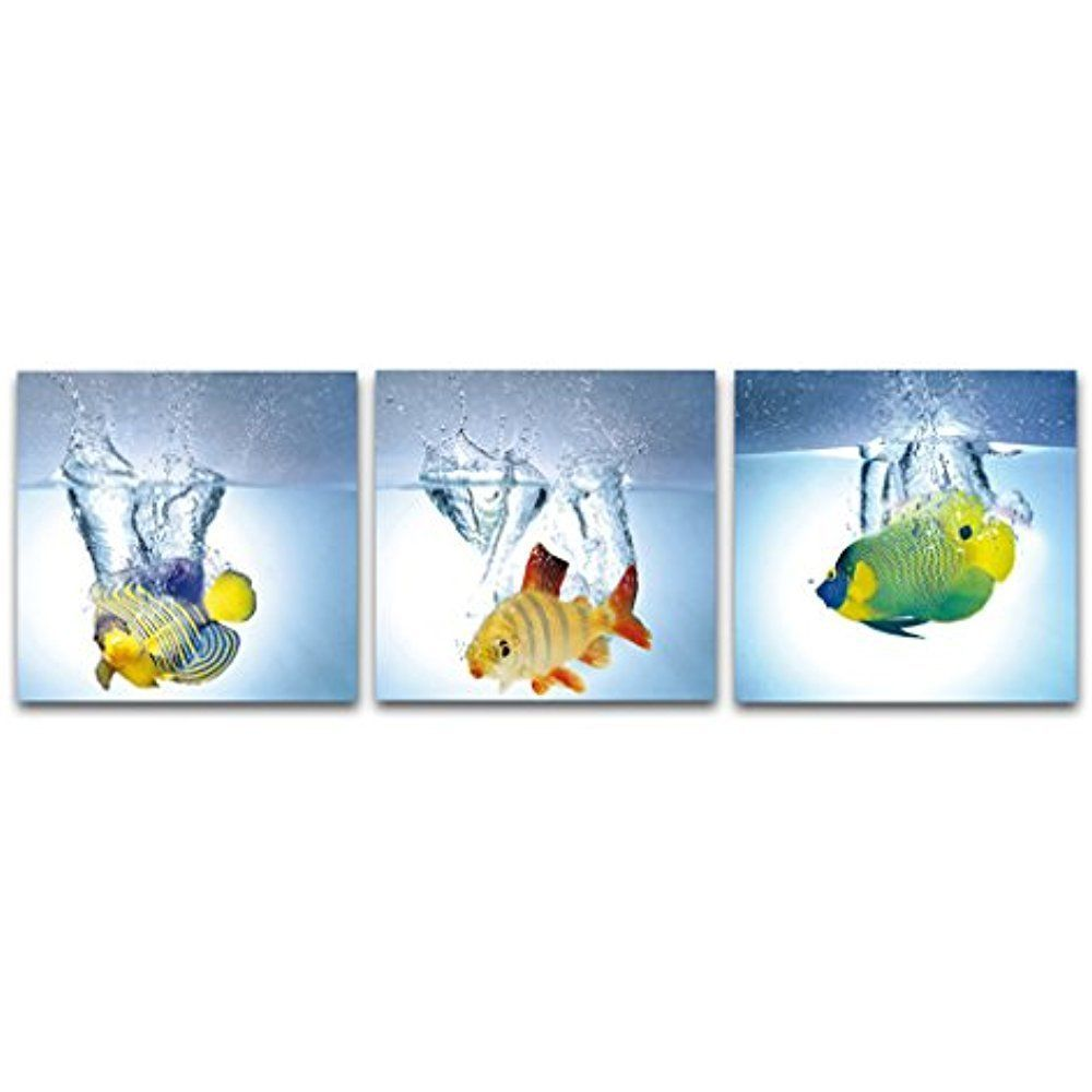 Framed] Happy Fish Blue Water Modern Canvas Art Prints Picture Wall ...