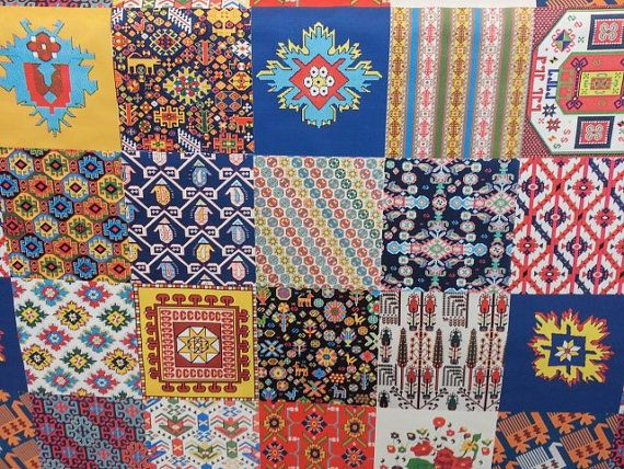 Patchwork Traditional Turkish Designs Printed Heavy Weight Polyester  Viscose Upholstery Fabric Half Yard