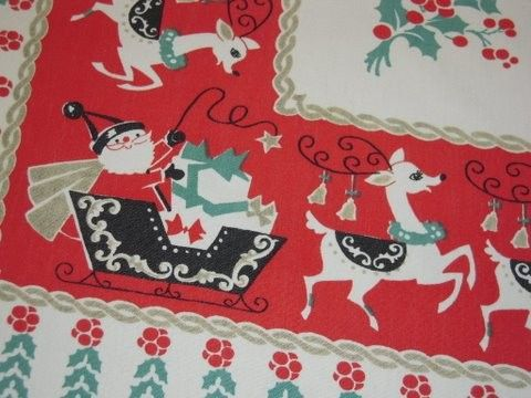 Vintage CHRISTMAS Tablecloth Happy Santa & His Reindeer Signed by ...