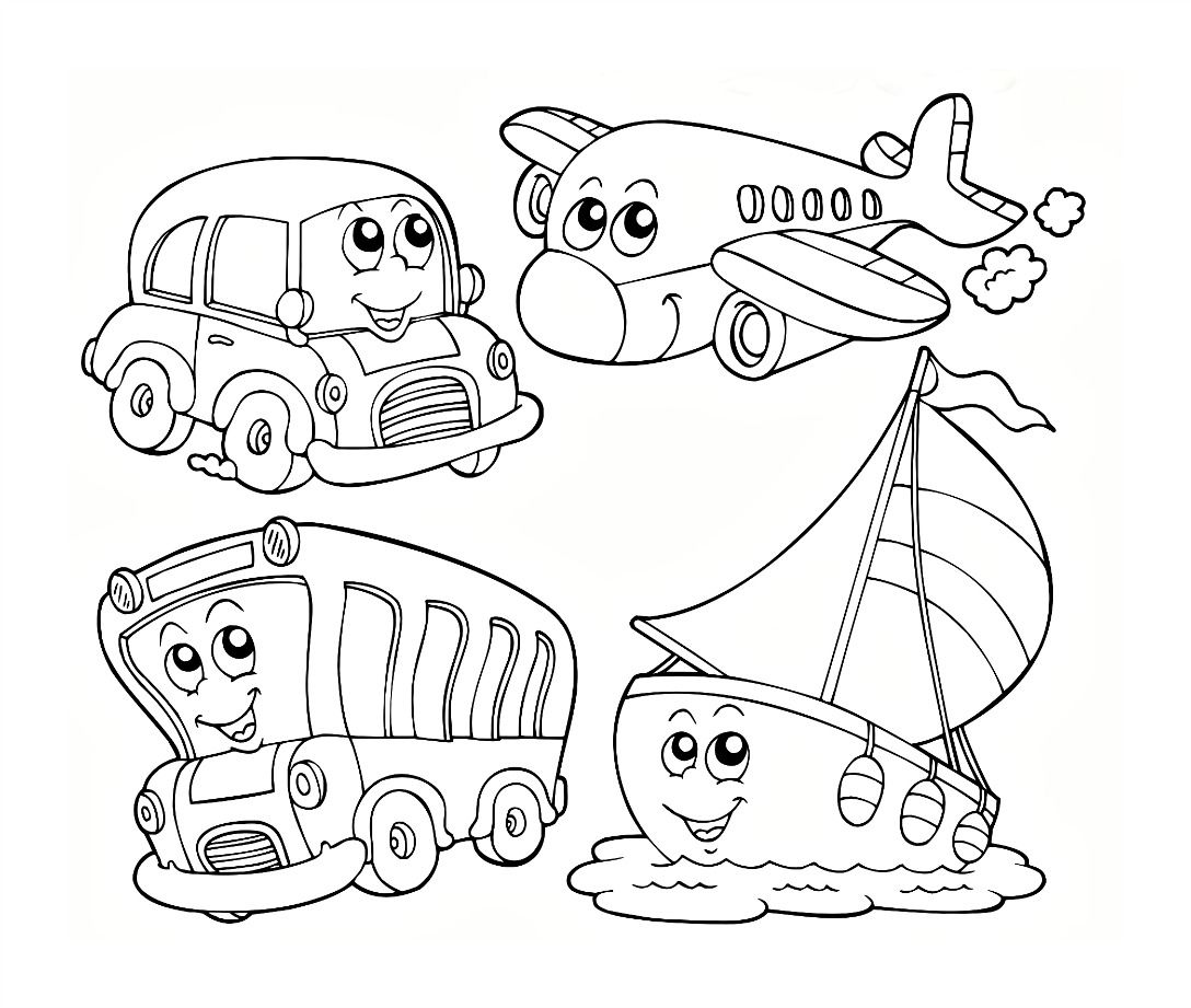 Colouring on worksheets - Transportation Coloring Worksheet For Kids