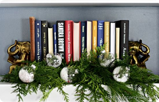 Christmas Bookshelf Decor  {Thrifty Decor Chick}