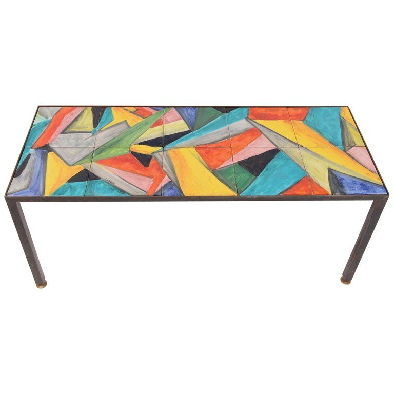 Mid Century Hand Painted Abstract Coffee Table Circa 1955 In 2020
