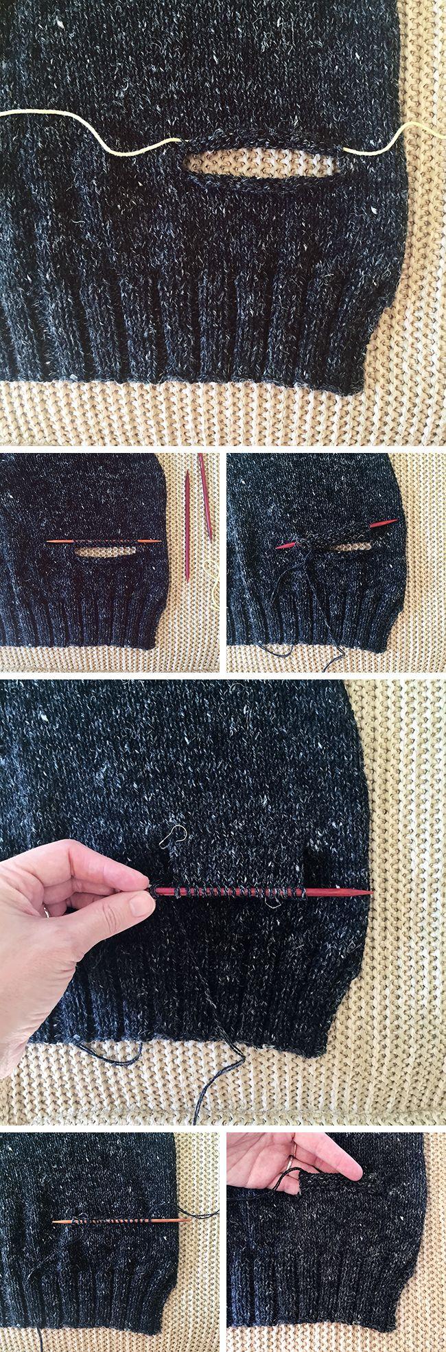 f29f40b8b0c6 How to knit inset pockets (top-down