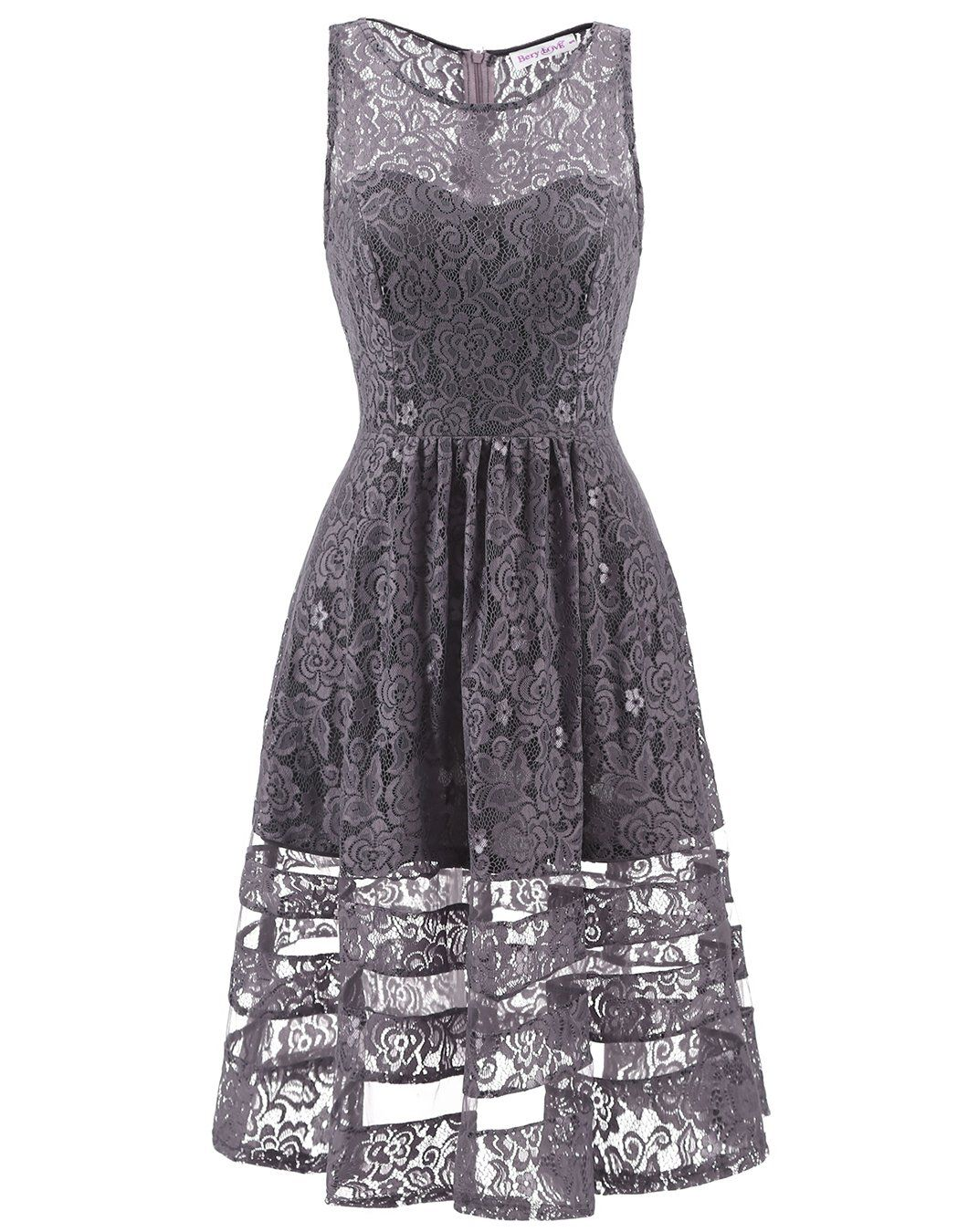 Berylove womens lace see through skirt short cocktail party dress