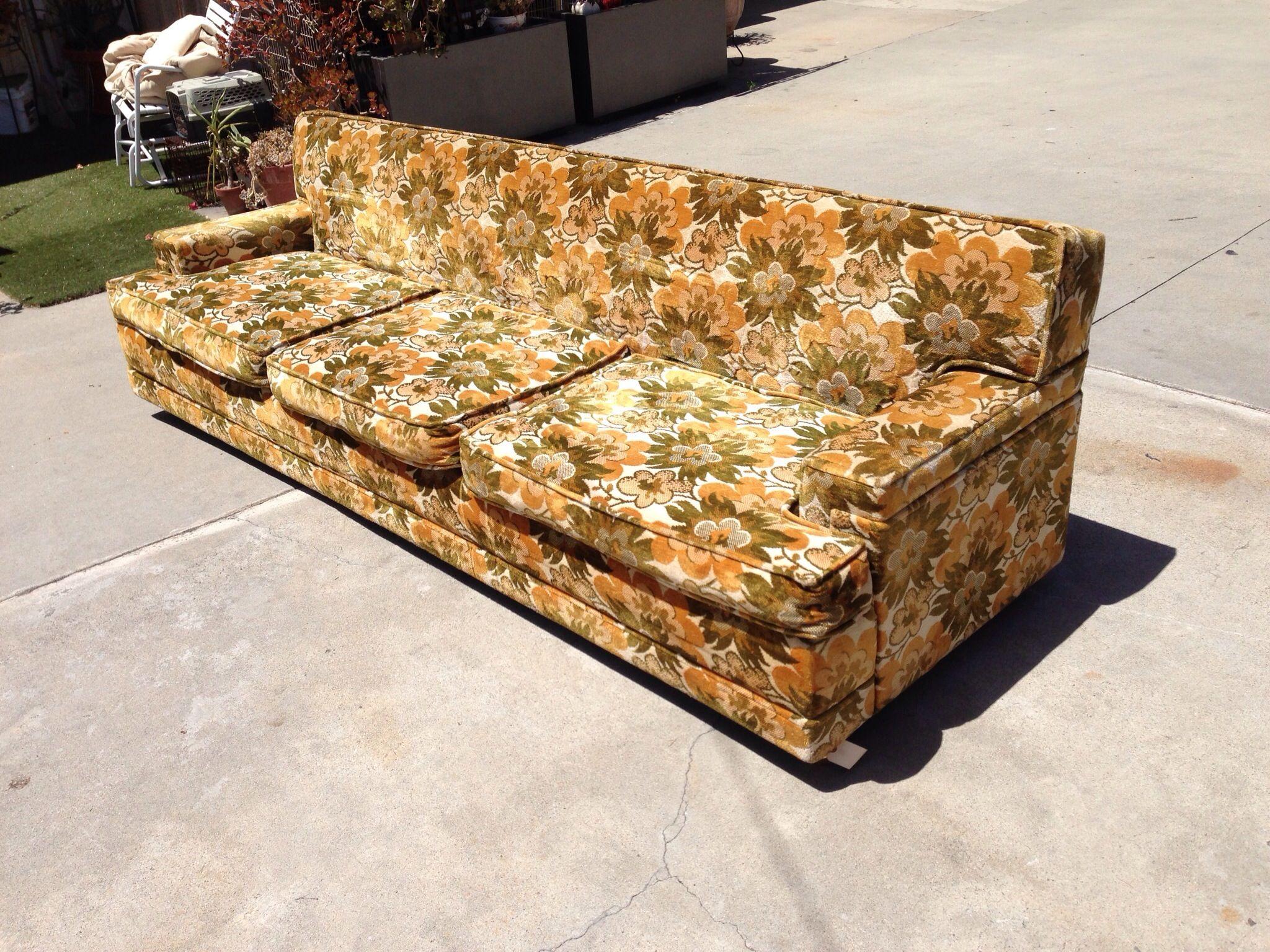 70s sofa coaster futon bed with removable arm rests brown vinyl vintage 70 39s cut velvet modern flamingo inventory