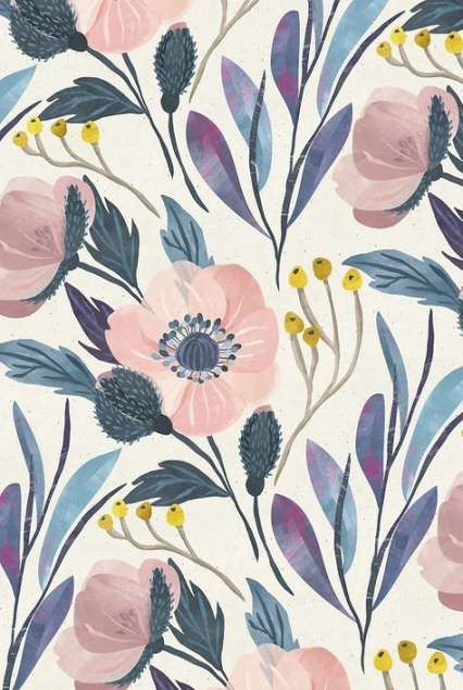 Flowers illustration botanical wallpapers 45+ Ideas #flowerpatterndesign