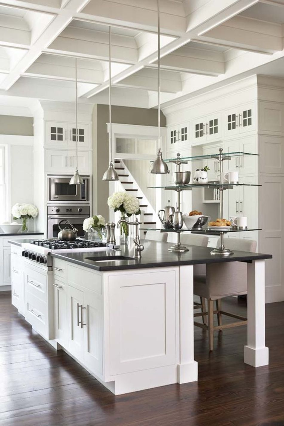 the recessed ceiling in the gorgeous kitchen showcases the high rh pinterest es