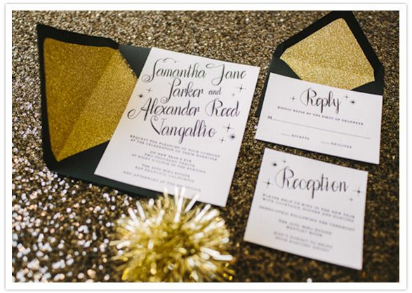 New Years Eve Wedding Invitation: Black And White Wedding Invite- Gold Envelopes