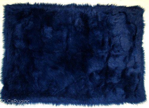 Shaggy Fluffy Flokati Rug Shag Solid Navy Blue 3 Inch Thick 31 X47 New