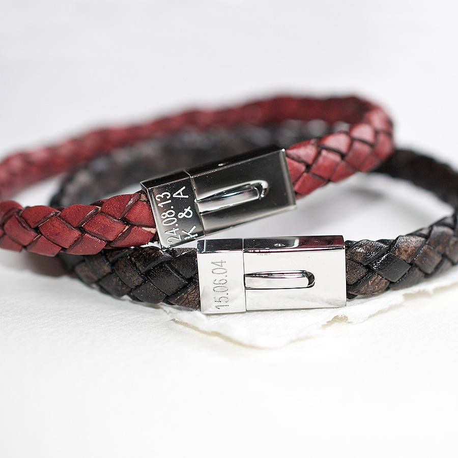 Personalised menus leather date bracelet by lb man
