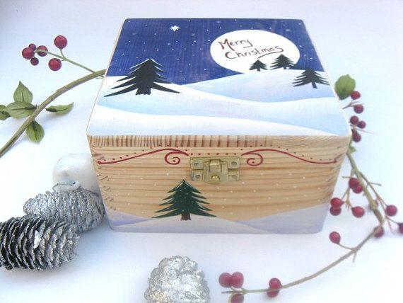 Xxlarge Christmas Keepsake Box Christmas Memory Box Christmas Gift Box Hand Painted Wooden Box Wi Christmas Keepsakes Christmas Box Hand Painted Wooden Box