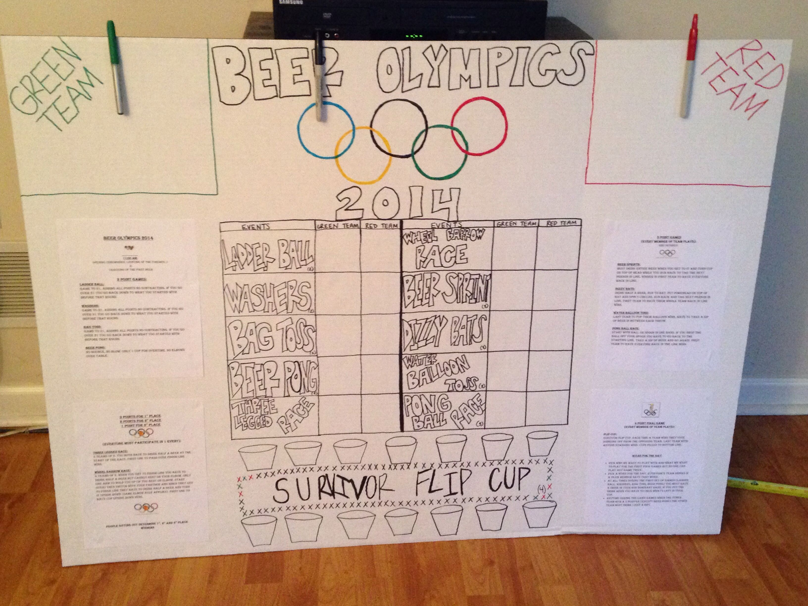 Beer Olympics simple way to manage teams w/no brackets