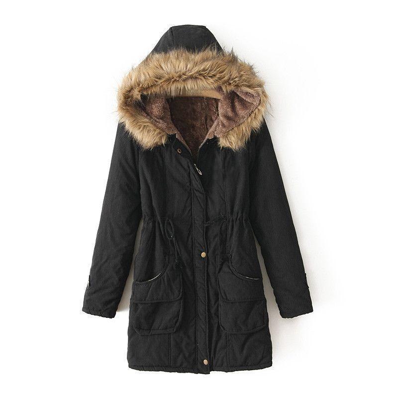 Ladies Winter Coat Parka Warm Long Jacket Thick Collar Hood Overcoat Outwear