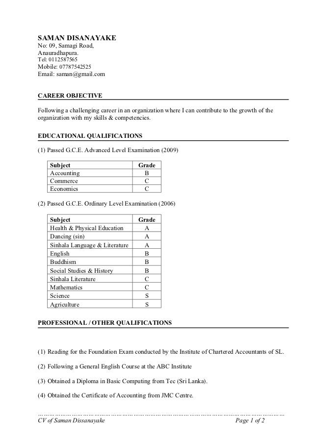 Cv Format In Sri Lanka Cv Format Cv Format For Job Curriculum Vitae Format