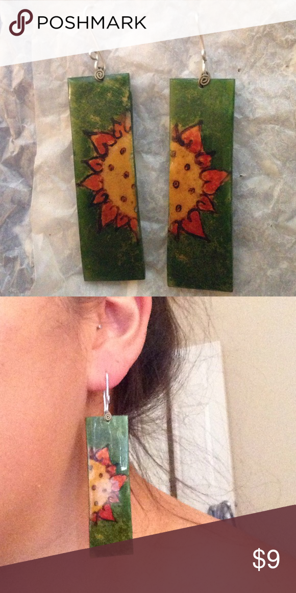 Sunflower earrings Adorable painted earrings. Images are painted on coconut shells. I originally purchased these in Belize. Accessories