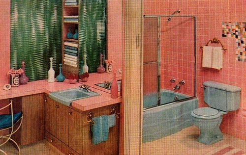 Pink And Blue Bathroom By Saltycotton Via Flickr