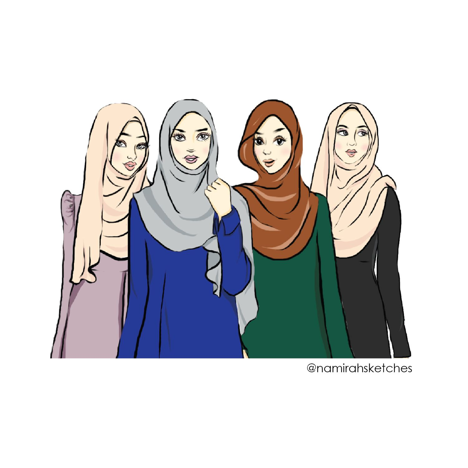 Illustration Najjah Girls Hijab Cartoon Girl Sketch Islamic Cartoon