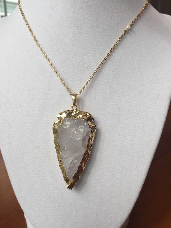 SALE Crystal quartz gold plated arrowhead necklace