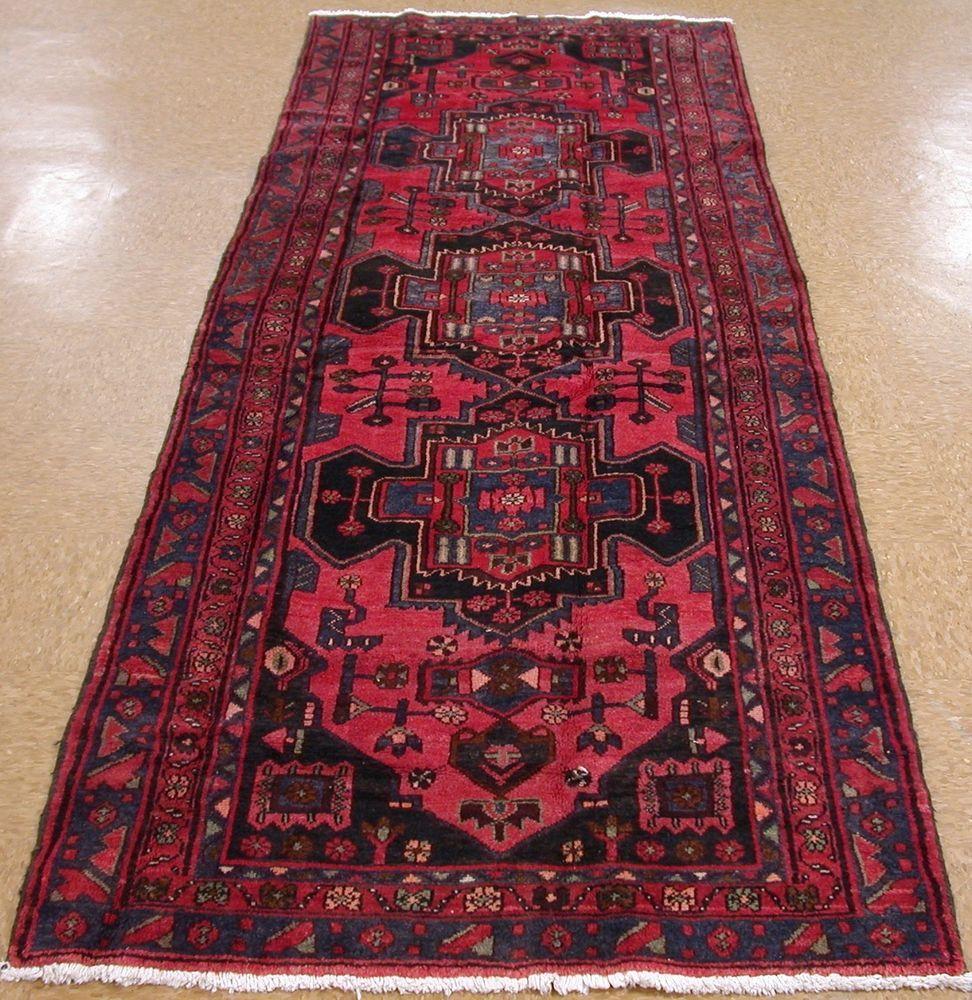 4 X 10 Persian Hamedan Tribal Hand Knotted Wool Red Navy Oriental Rug Runner Oriental Rug Runners Rugs Oriental Rug