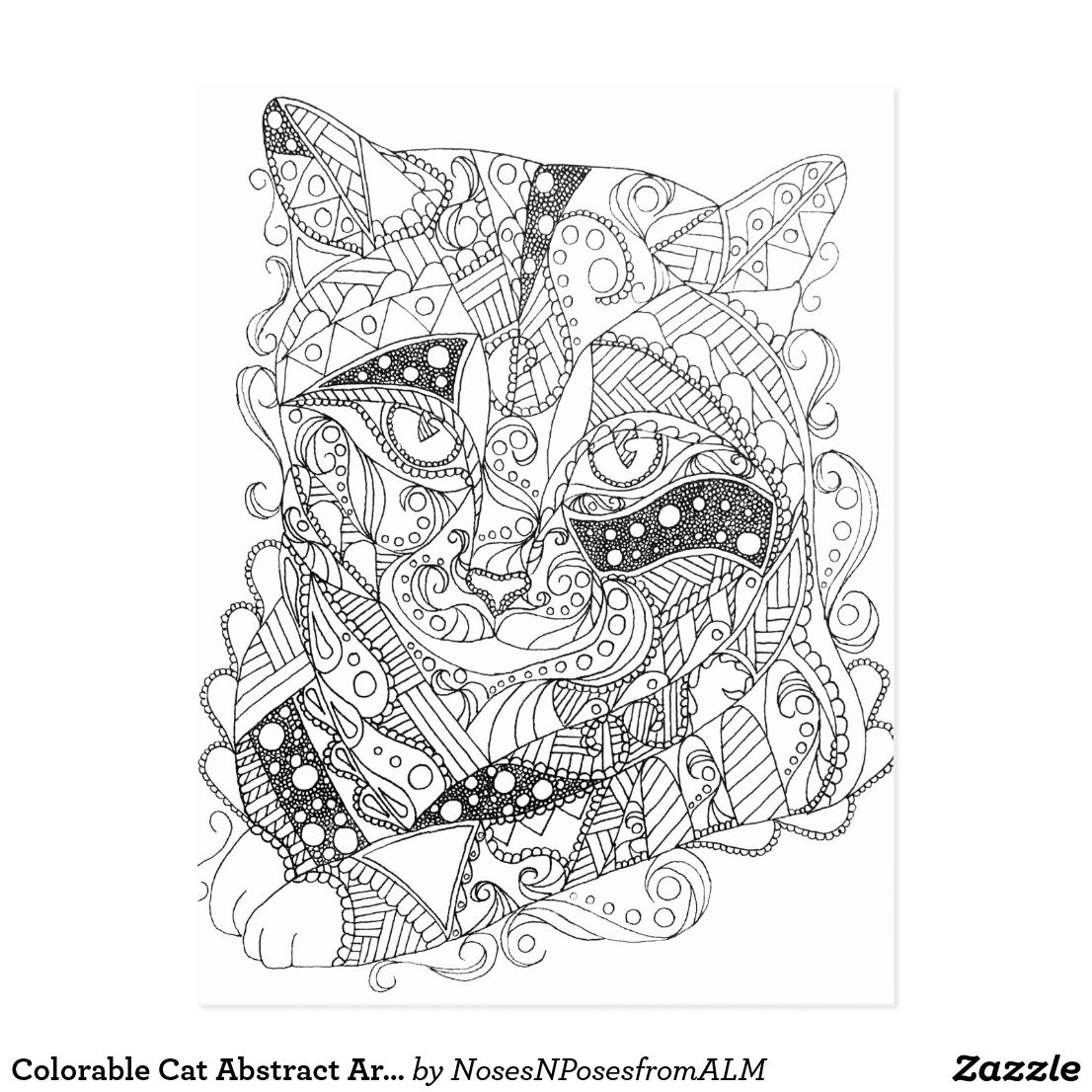 Colorable Cat Abstract Art Adult Coloring Postcard Zazzle Com