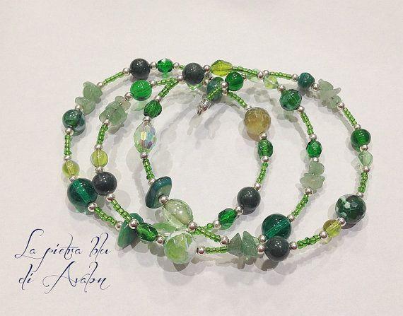 Bracciale verde avventurina bracciale agata di LaPietraBluDiAvalon