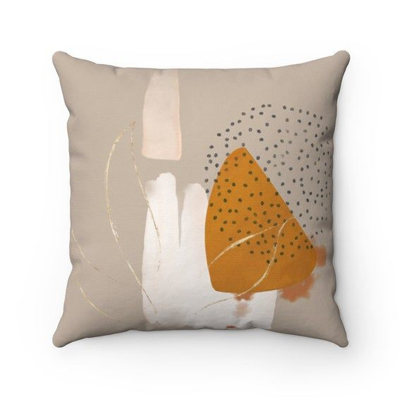 Abstract Art Pillow Cover, Beige Gold Pastel Geometric Shapes Decorative Pillowcase, Square pillow c