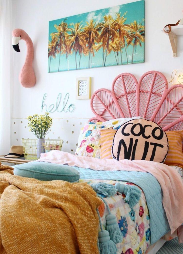 flamingo inspiriertes kinderzimmer tropisch wand deko. Black Bedroom Furniture Sets. Home Design Ideas