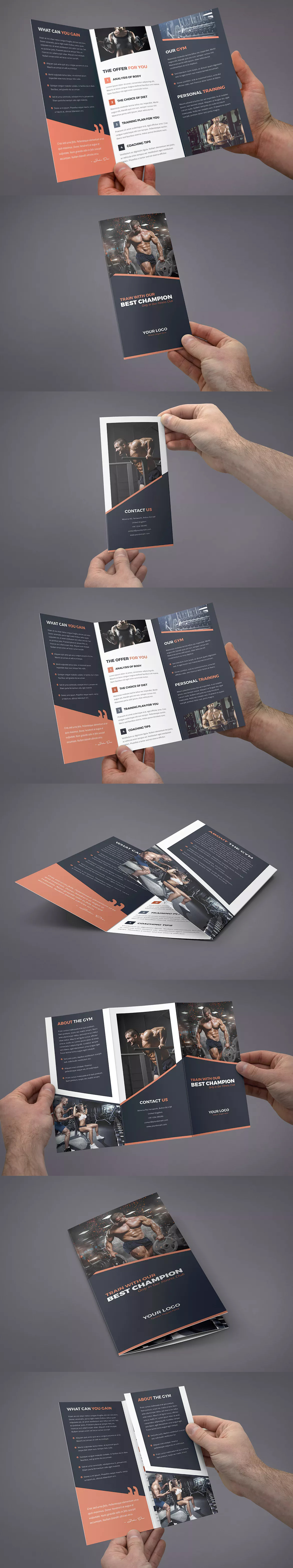 Brochure  Gym TriFold Template Psd  Brochure Design Templates