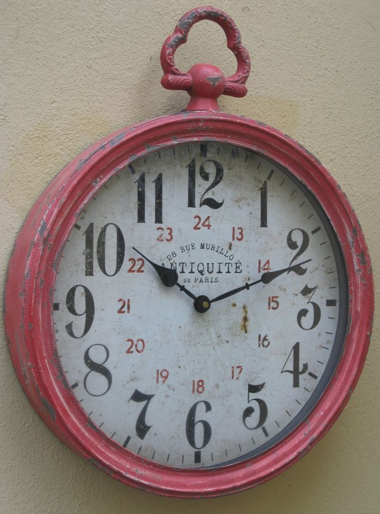 Red French Provincial Rustic Fob Wall Clock Paris Distressed Metal Round Large