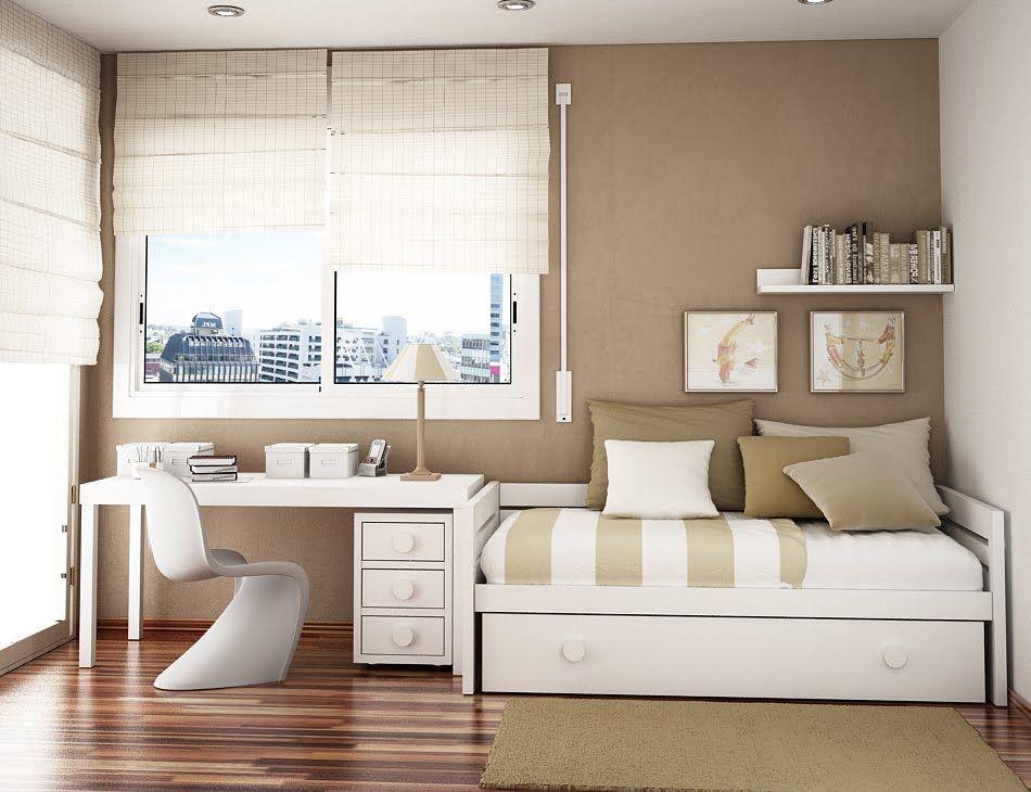 este diseno de dormitorio juvenil vemos como el color blanco trata de