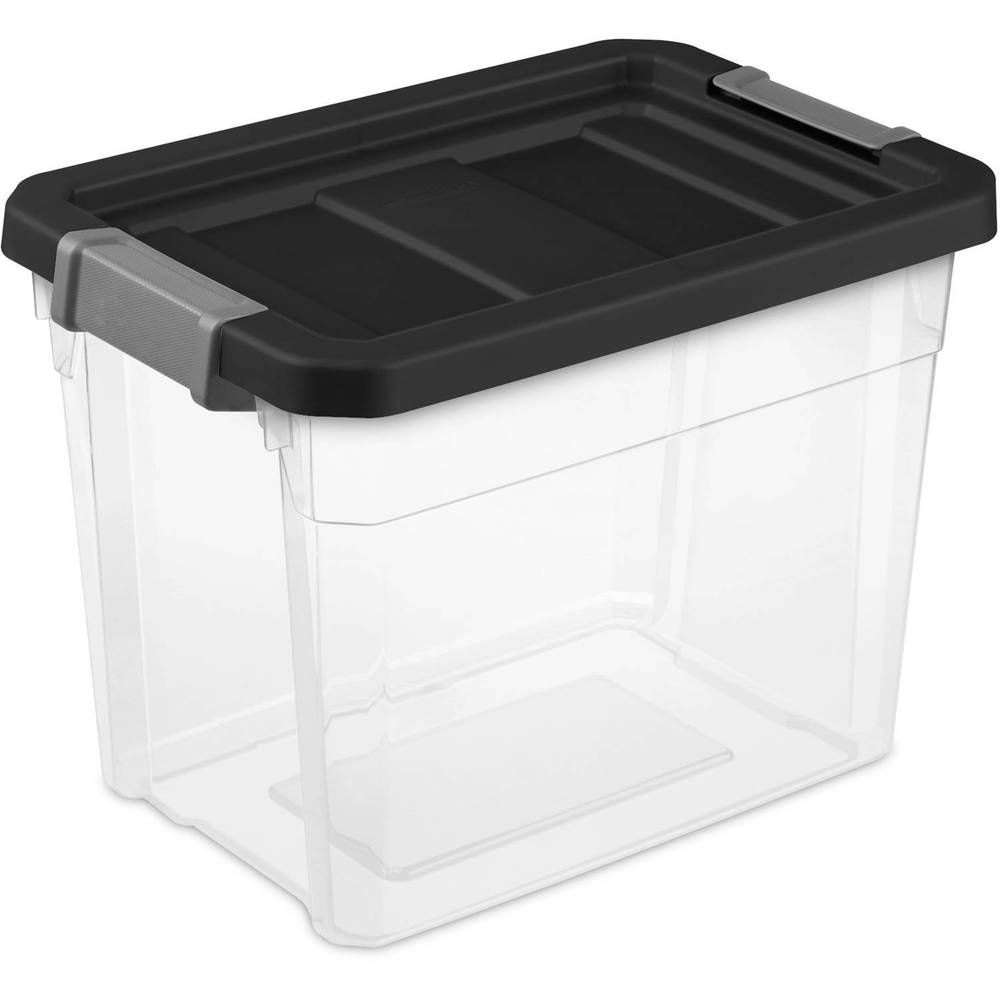 Stacker Box Black Durable Heavy Duty Latches Case Indexed Lid Surface 7 5 Gallon Basketshome Sterilite Food Storage Shelves Closet Planning