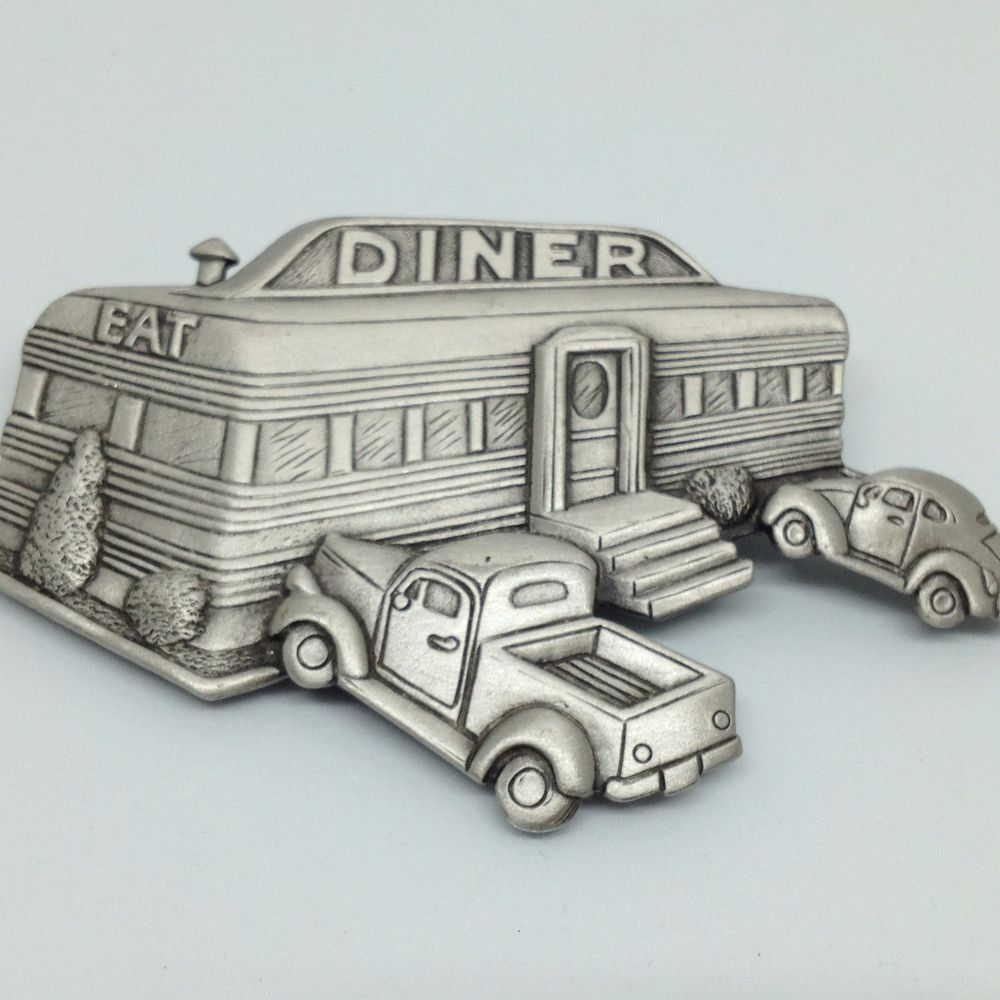 Signed JJ Vintage EAT FOOD DINER BROOCH PIN Pewter Antique Truck ...