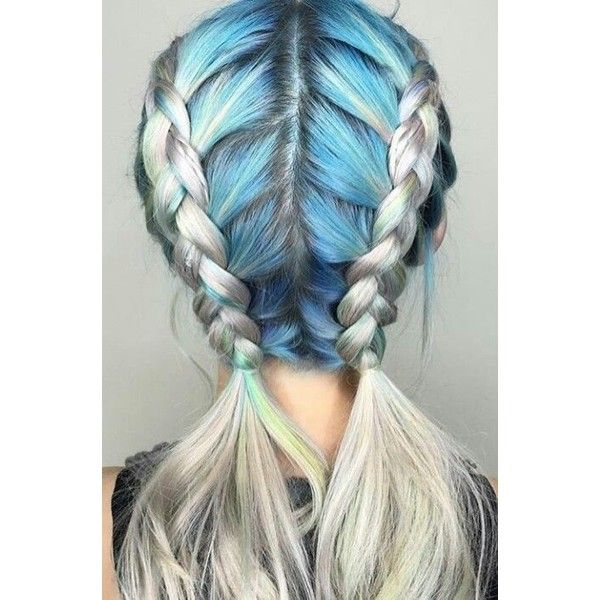 Blue braided back dyed hair color ❤ liked on Polyvore ...
