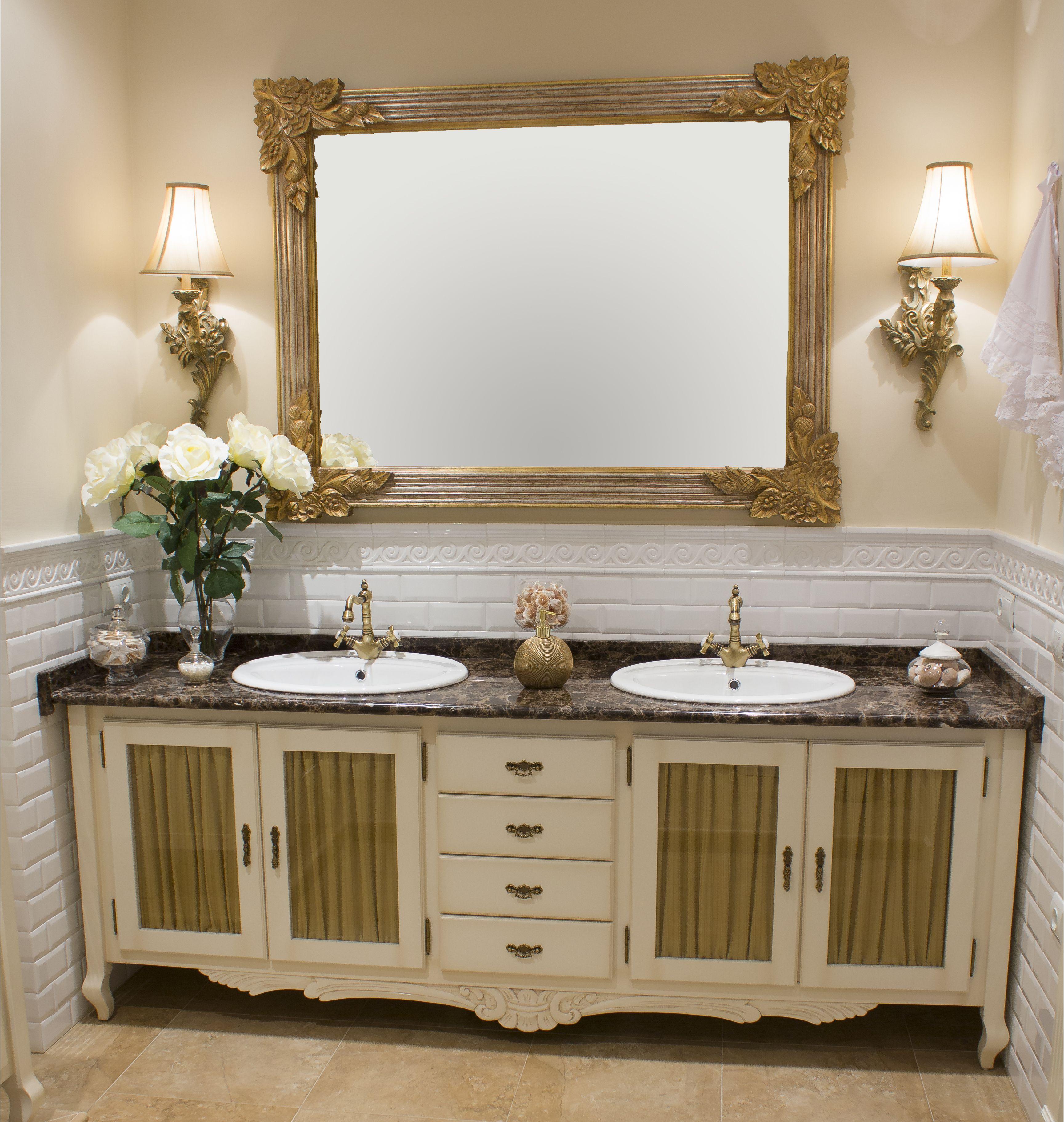 Mueble de ba o blanco envejecido de dos senos cuatro for Mueble bano rustico blanco
