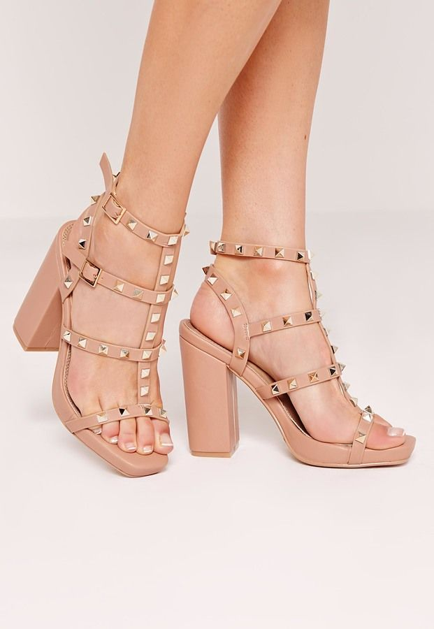 feb80bc8ab Studded Block Heeled Sandals Nude | Shoes | Shoes, Heels, Studded heels