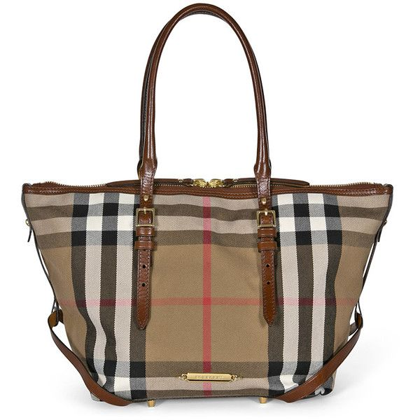 Burberry Bridle House Check Small Salisbury Tote in Dark Tan ( 724) ❤ liked  on Polyvore featuring bags 00d6e00f5cb69