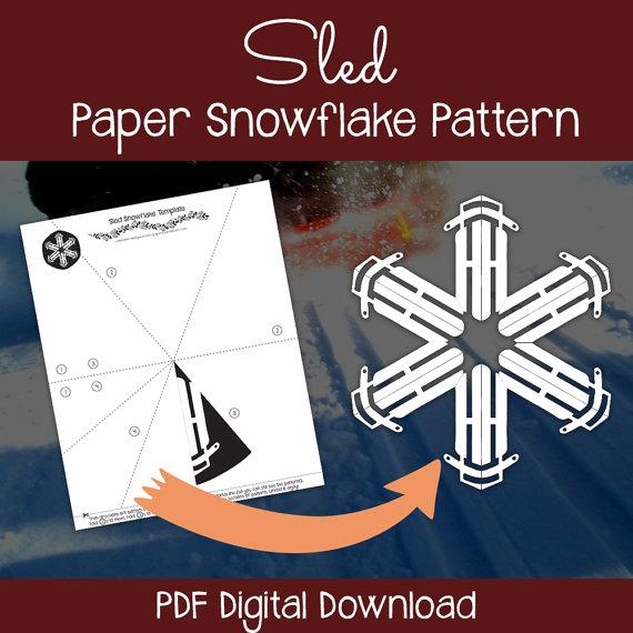 Sled paper snowflake pattern - digital download. Download PDF, print, cut & enjoy! #printable #snowflake #papersnowflake #papersnowflakepattern #snowflakepattern #snowflaketemplate