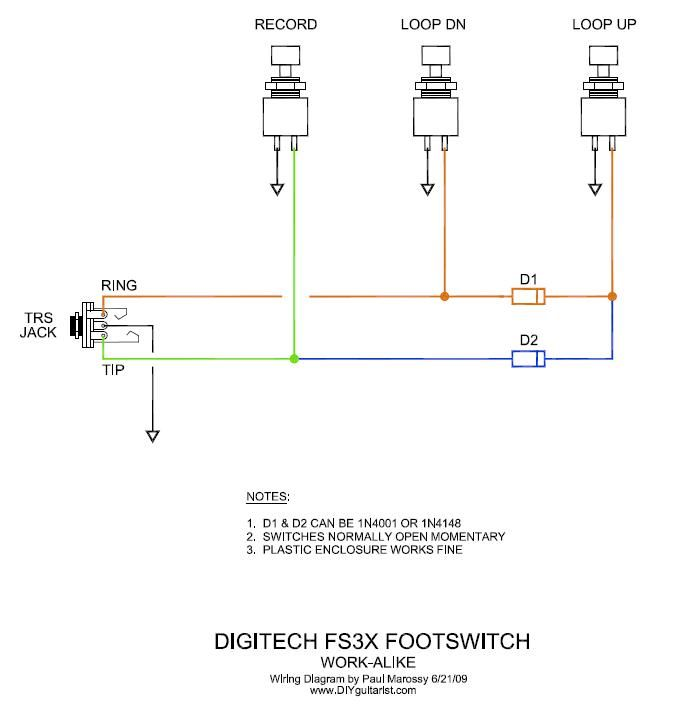 DIY Digitech/ TC Helicon Three Button FSW | Electronic circuit projects,  Guitar pedals, Circuit projects | Guitar Footswitch Wiring Diagram |  | Pinterest