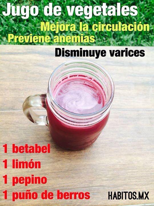 Jugo para ayudar a la circulación y prevención de anemias