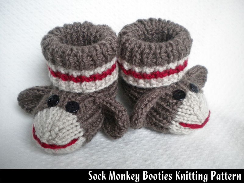 Sock Monkey Baby Booties Knitting Pattern. Are these adorable or what???