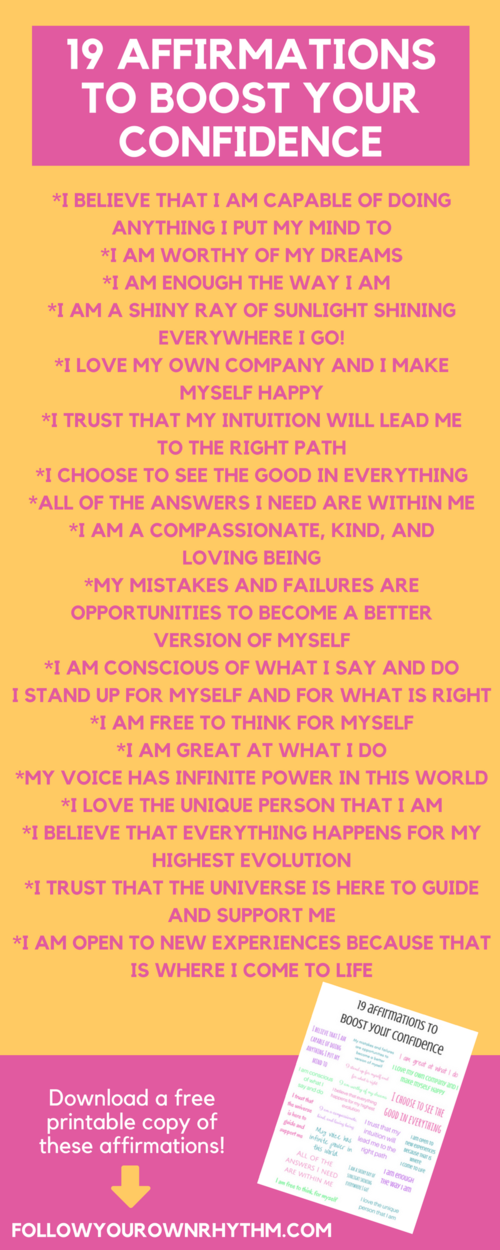 19 affirmations to boost your confidence healthy mind affirmation confidence affirmations are a great way to boost your self esteem and get you into the mind space of feeling good about yourself and where you are in life altavistaventures Gallery