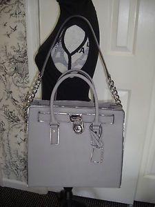 569a1e6f6a9d Michael Kors Hamilton Specchio Large North South Tote Pearl Gray Silver MWT  | eBay